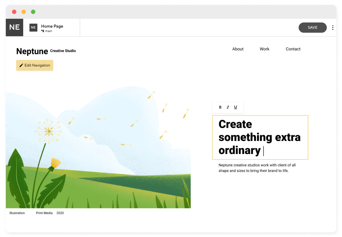 Visual editor interface focusing on hero text inside browser