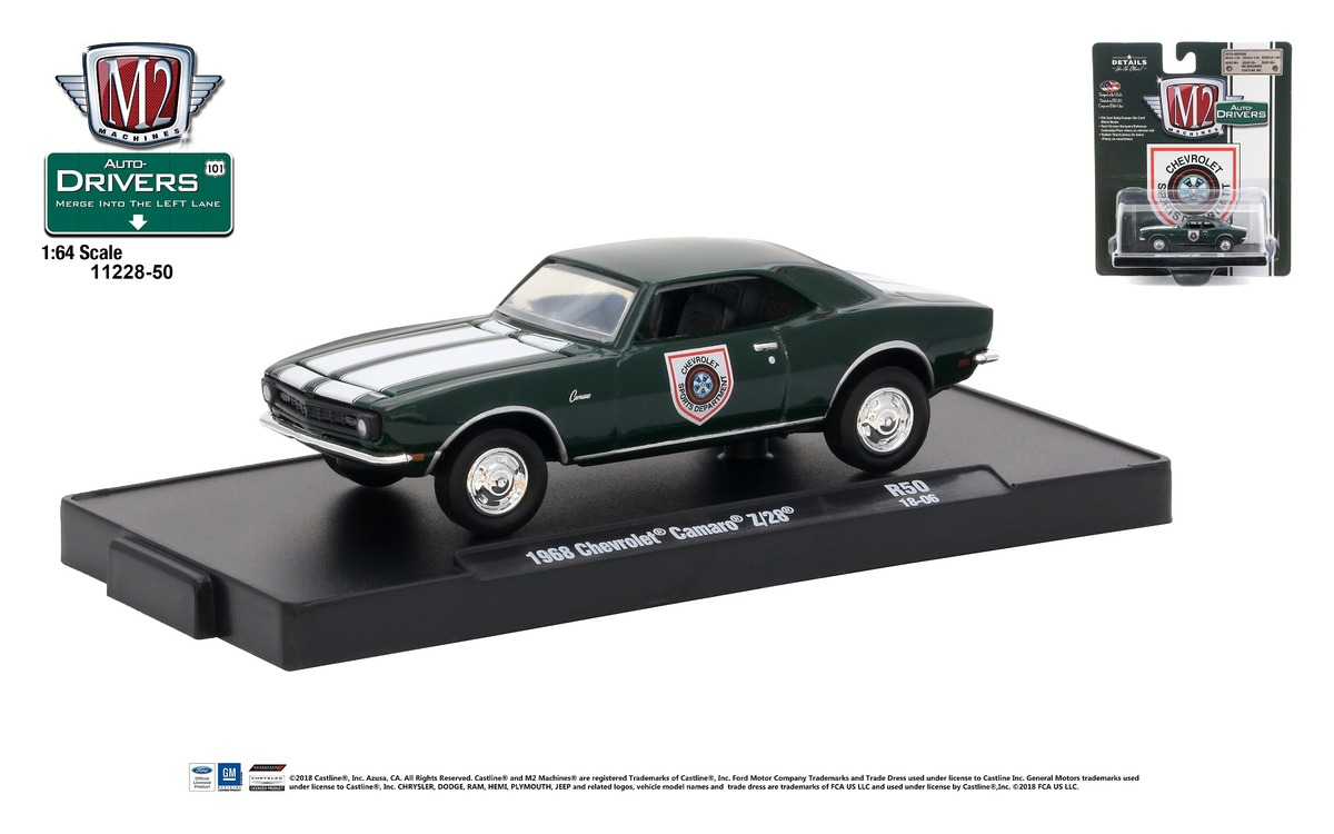 Carded M2 Machines - Drivers Release 50 - 1968 Chevrolet Camaro Z-28 - British Green with Bright White Stripes - Final Image