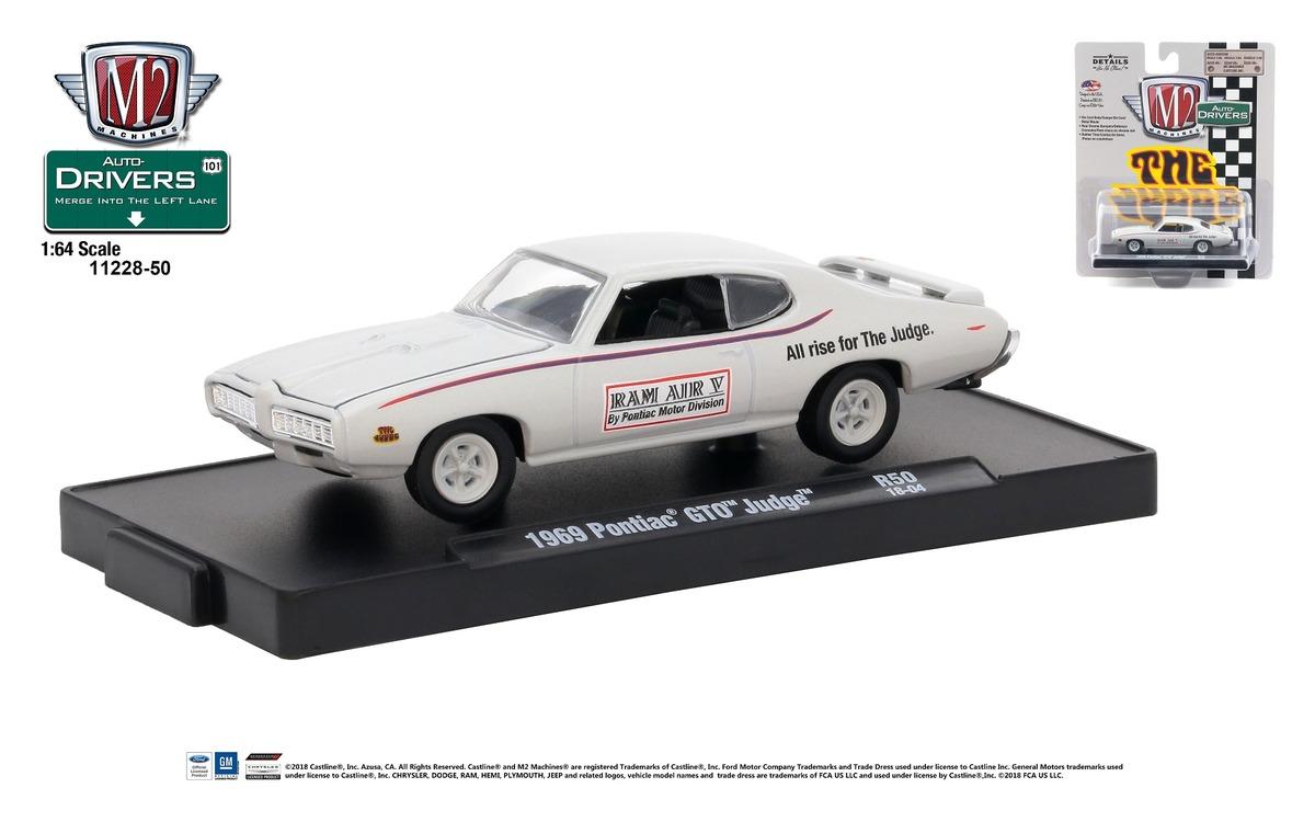 Carded M2 Machines - Drivers Release 50 - 1969 Pontiac GTO Judge - Palladium Silver Metallic with Judge Stripes - Final Image