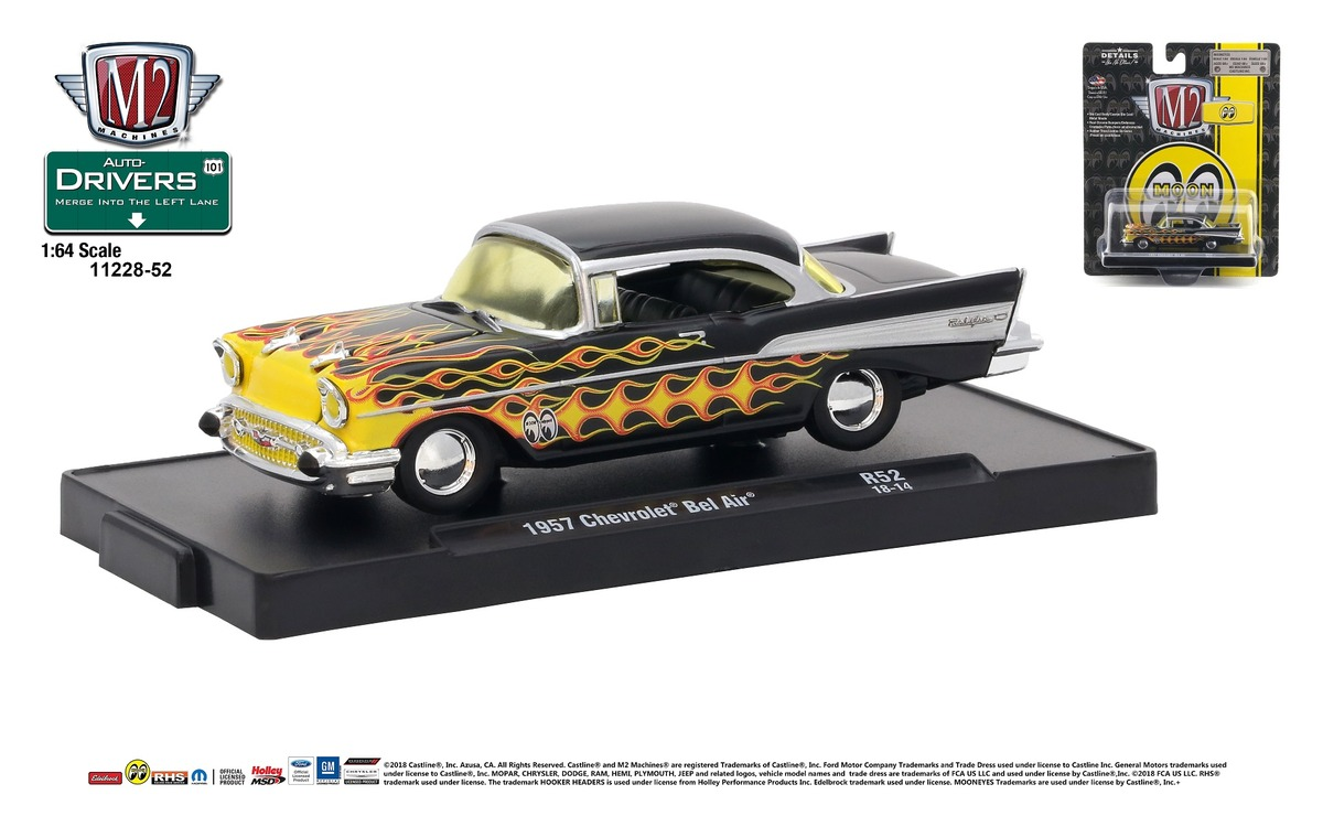 Carded M2 Machines - Drivers Release 52 - 1957 Chevrolet Bel Air - MOONEYES -  Semi-Gloss Black with Flames