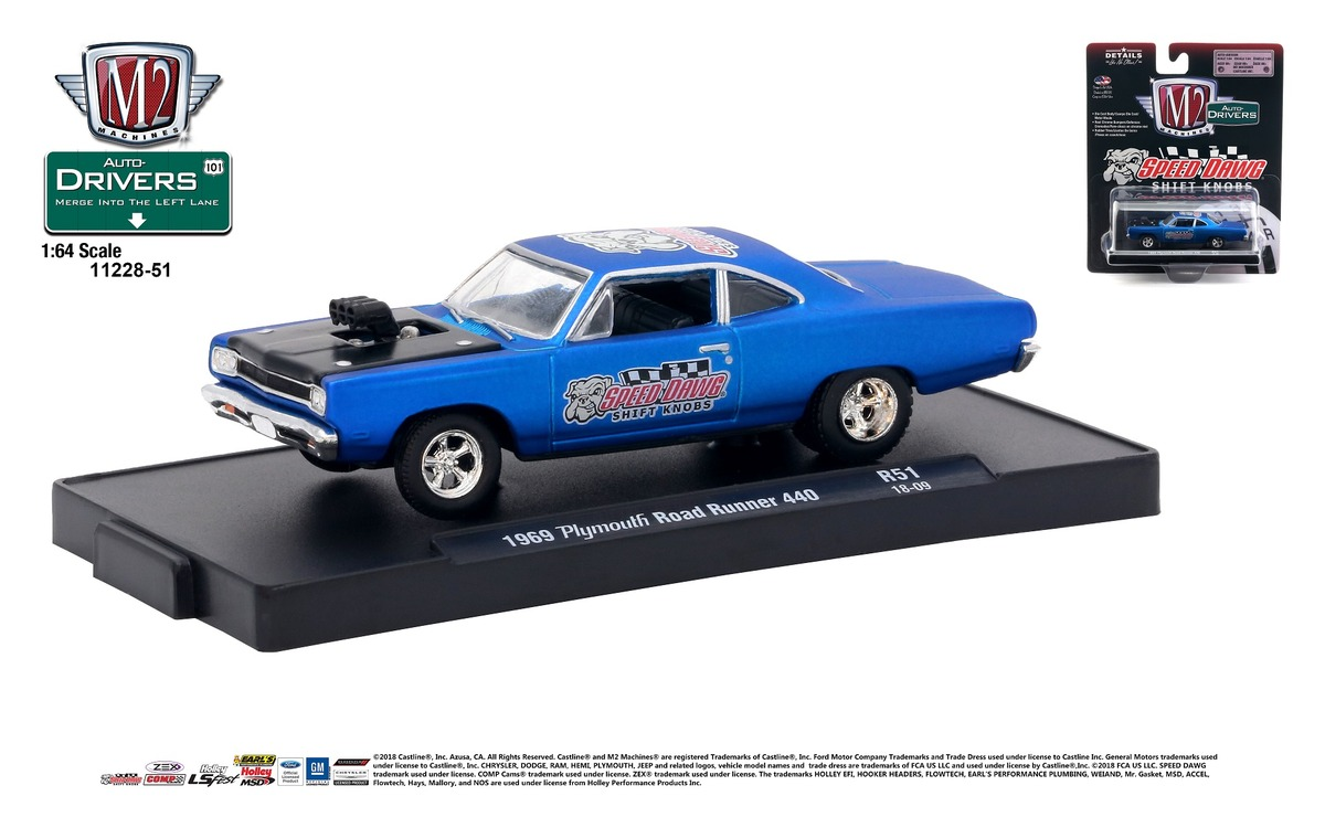Carded M2 Machines - Drivers Release 51 - 1969 Plymouth Road Runner 440 - Speed Dawg - Satin Blue with Semi-Gloss Black Hood