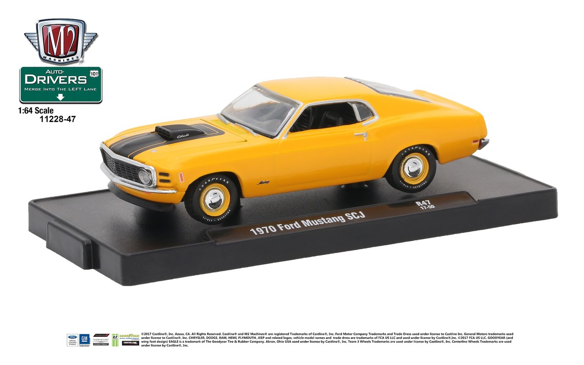 Carded M2 Machines - Drivers Release 47 - 1970 Ford Mustang 428 SCJ - Grabber Orange with Semi-Gloss Black Stripes