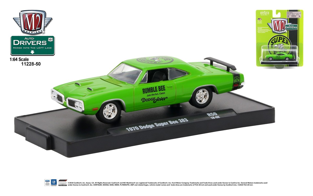 Carded M2 Machines - Drivers Release 50 - 1970 Dodge Super Bee 383 - Sublime with Semi-Gloss Black Stripe - Final Image