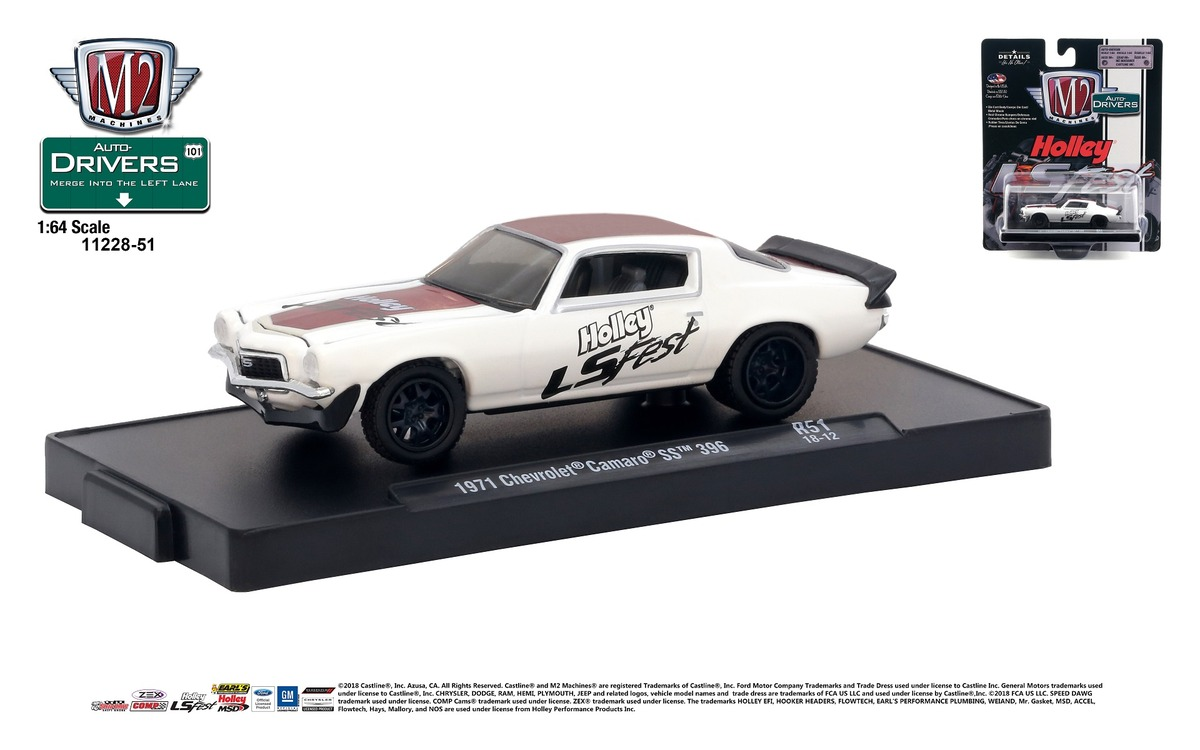 Carded M2 Machines - Drivers Release 51 - 1971 Chevrolet Camaro SS 396 - Holley LS Fest - Semi-Gloss White with Red and Gray Stripes