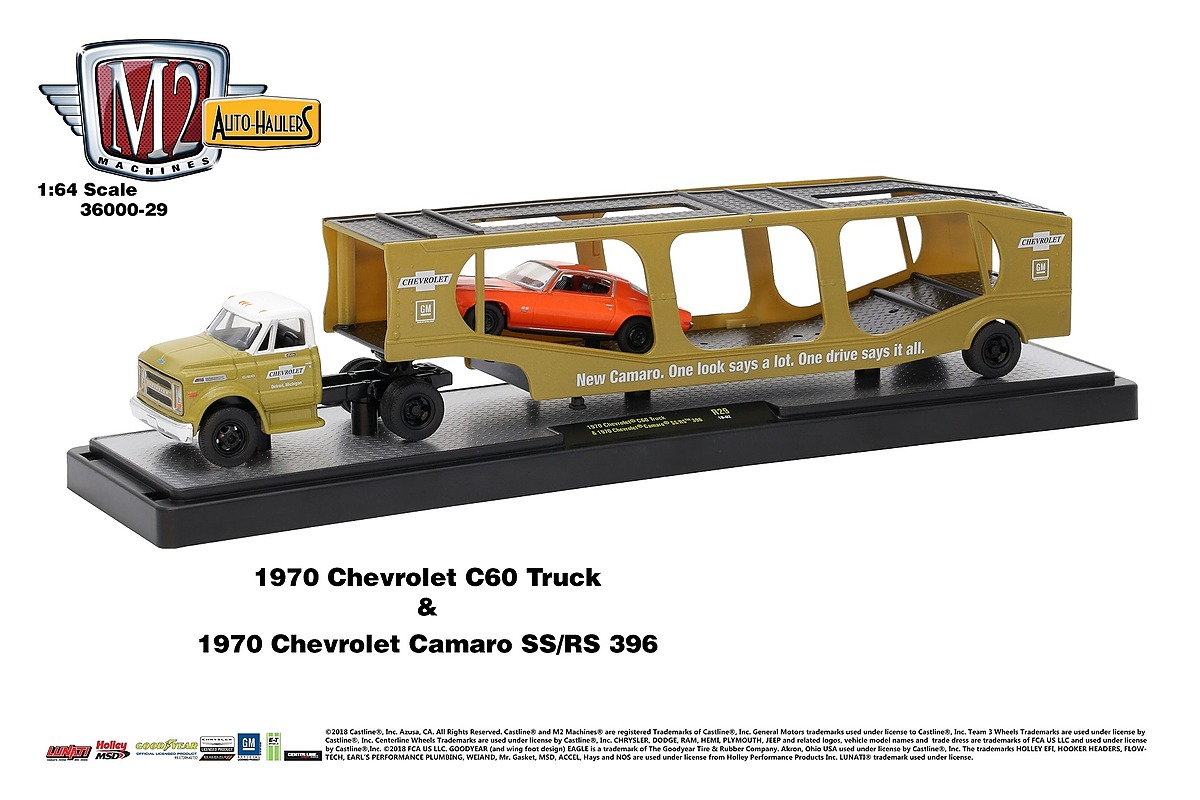 M2 Haulers 1:64 - 1970 Chevrolet C60 Truck - Medium Gold Metallic with Bright White Top and 1970 Chevrolet Camaro SS RS 396