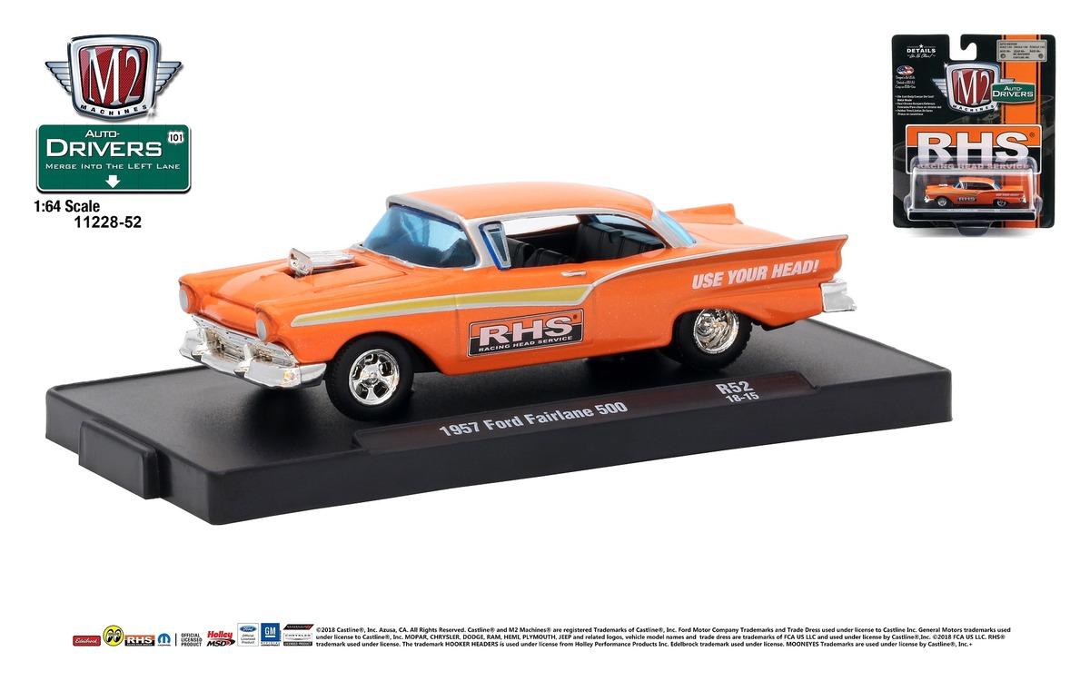 Carded M2 Machines - Drivers Release 52 - 1957 Ford Fairlane 500 - RHS RACING - Orange Metallic (1)