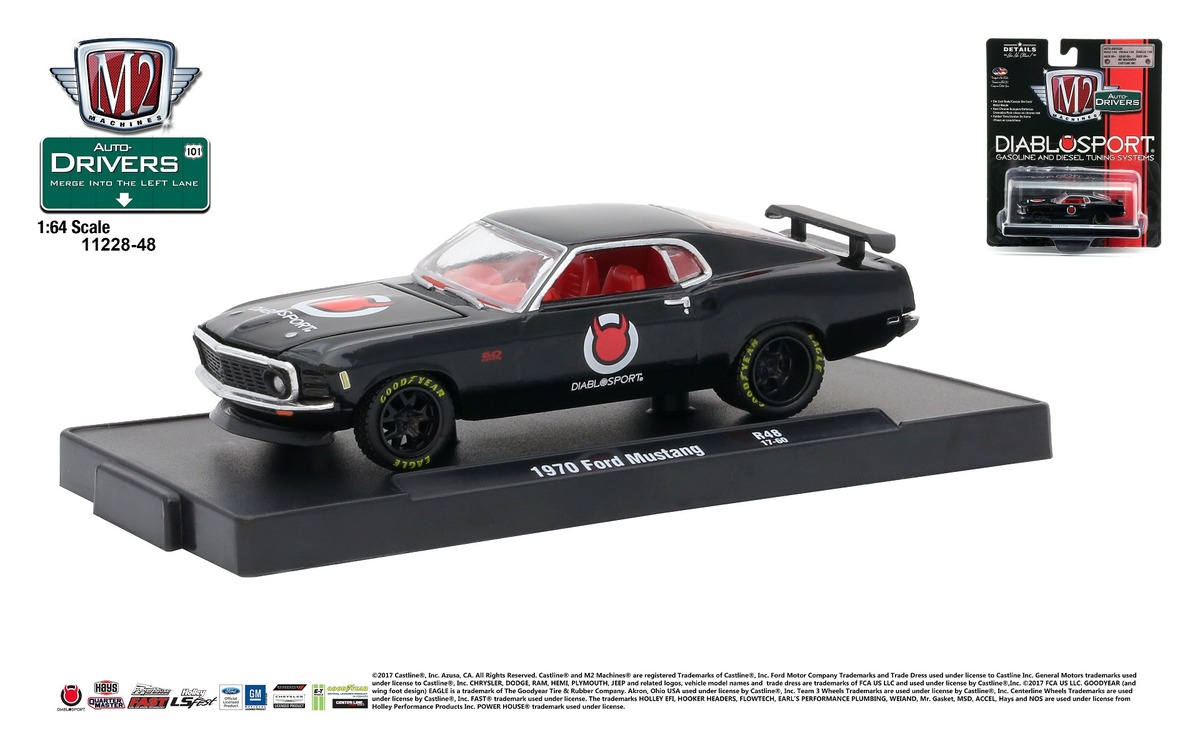 Carded M2 Machines - Drivers Release 48 - 1970 Ford Mustang - DIABLO SPORT - Gloss Black