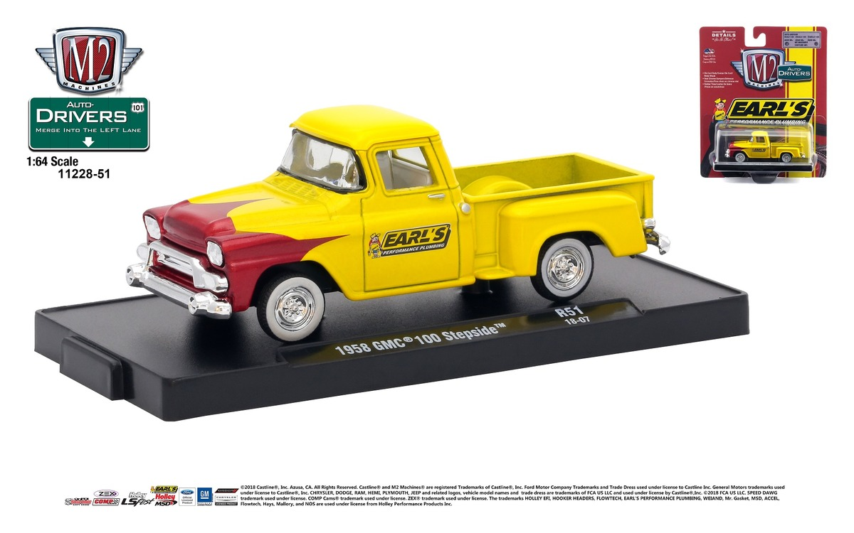 Carded M2 Machines - Drivers Release 51 - 1958 GMC 100 Step Side - Earl's Performance - Pearl Yellow with Candy Red Scallops