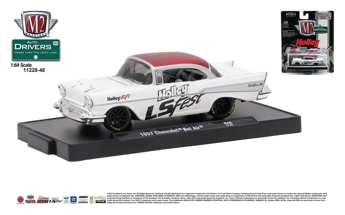 Carded M2 Machines - Drivers Release 48 - 1957 Chevrolet Bel Air - Holley L.S. Fest - Semi-Gloss White Body with Satin Red Top - Final Image