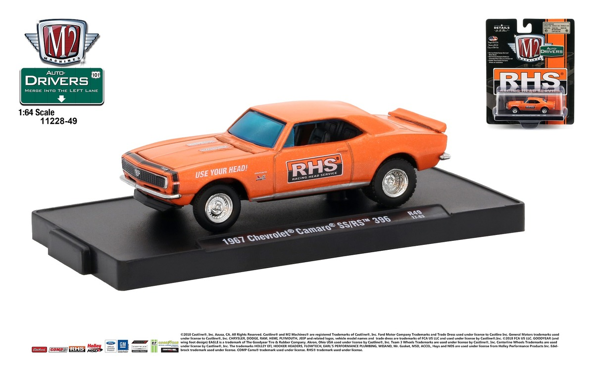 Carded M2 Machines - Drivers Release 49 - 1967 Chevrolet Camaro SS-RS 396 - Orange Metallic with Black Stripes - Final Image