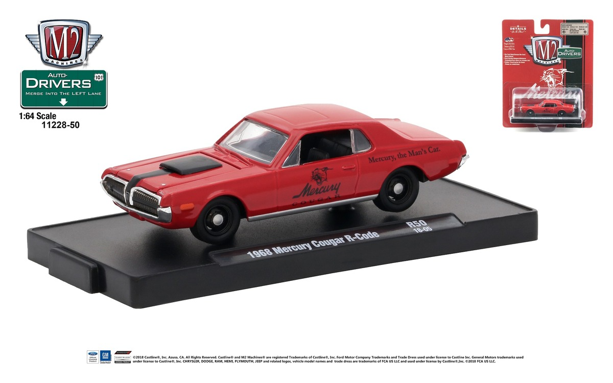 Carded M2 Machines - Drivers Release 50 - 1968 Mercury Cougar R-Code - Cardinal Red with Semi-Gloss Black Stripe - Final Image