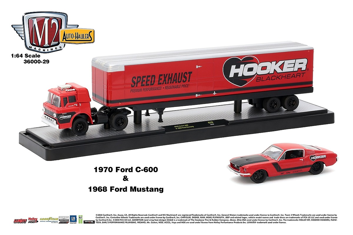 M2 Haulers 1:64 - 1970 Ford C-600 and 1968 Ford Mustang - Red and Black Stripe