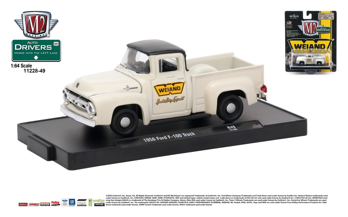 Carded M2 Machines - Drivers Release 49 - 1956 Ford F-100 Truck - Colonial Creame with Black Top - Final Image