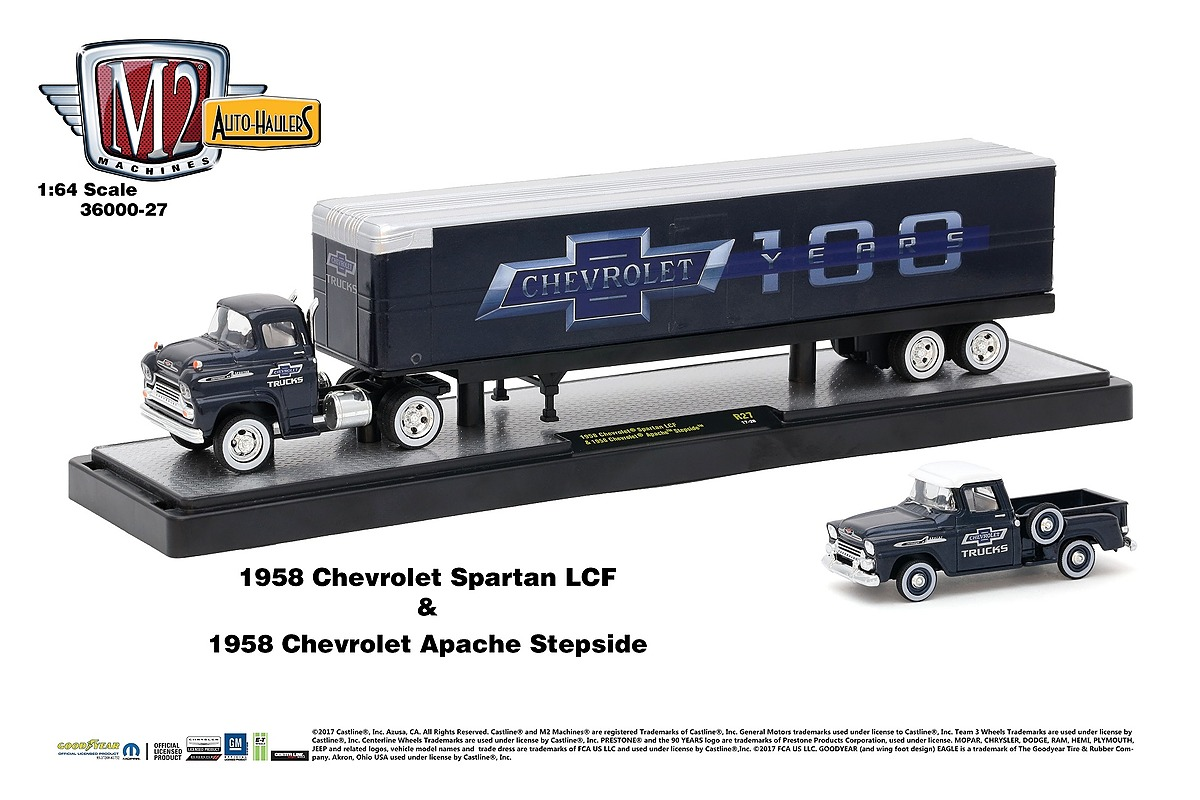 M2 Haulers 1:64 - Chevrolet 100 Years -  1958 Chevrolet Spartan LCF and 1958 Chevrolet Apache Stepside