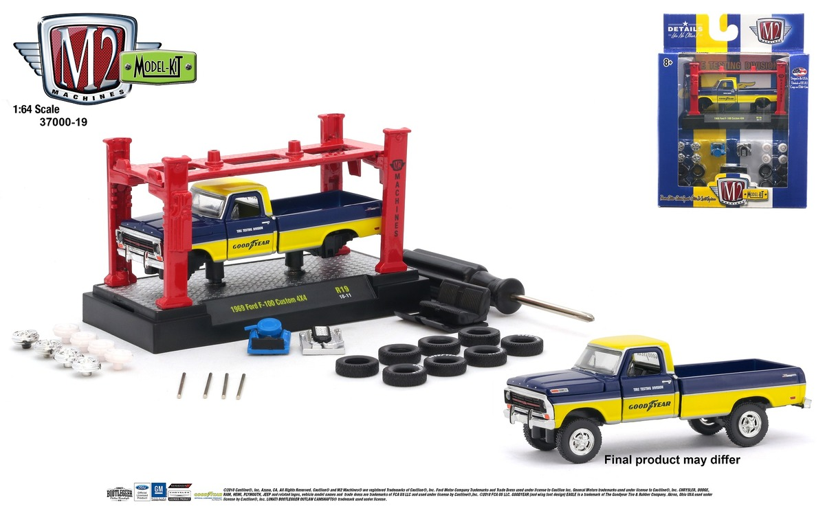 M2 1:64 Kitset's - Model Kit 1.64 scale Release 19 - 1969 Ford F-100 Custom 4x4 - Blue Middle and Yellow - Top and Bottom