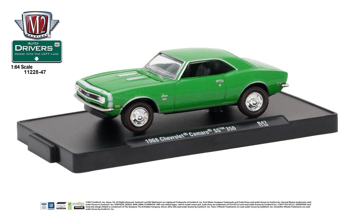 Carded M2 Machines - Drivers Release 47 - 1968 Chevrolet Camaro SS 350 - Rallye Green Metallic with Gloss White Stripes