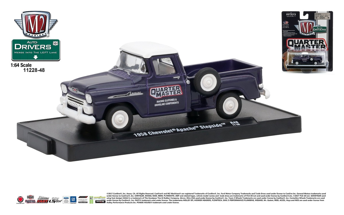 Carded M2 Machines - Drivers Release 48 - 1958 Chevrolet Apache Step Side - Quarter Master - Dark Purple with Bright White Top - Final Image