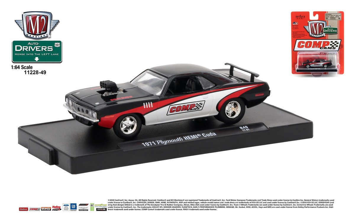 Carded M2 Machines - Drivers Release 49 - 1971 Plymouth HEMI Cuda - Gloss Black with Red and White Stripes - Final Image