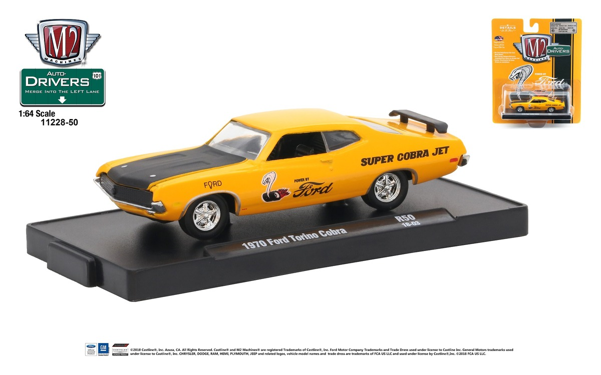 Carded M2 Machines - Drivers Release 50 - 1970 Ford Torino Cobra - Grabber Orange with Semi-Gloss Black Hood - Final Image