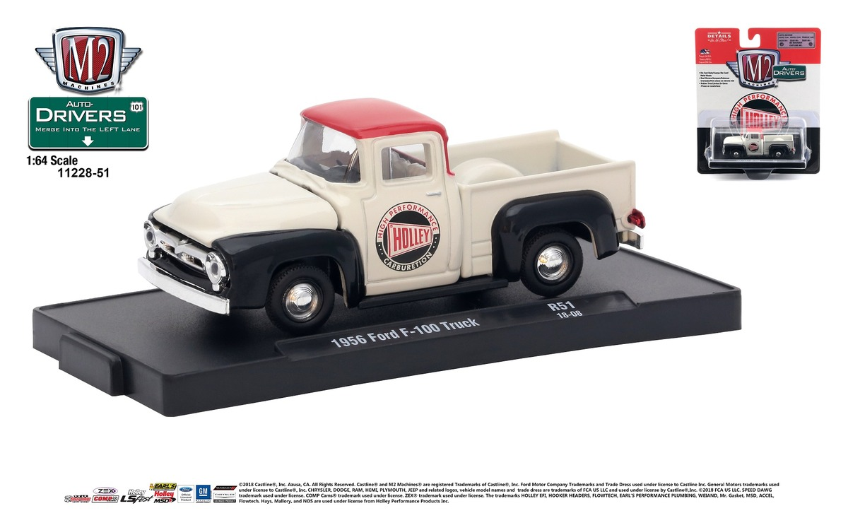 Carded M2 Machines - Drivers Release 51 - 1956 Ford F-100   Truck - Holley - Bright White with Red Top and Black Fenders
