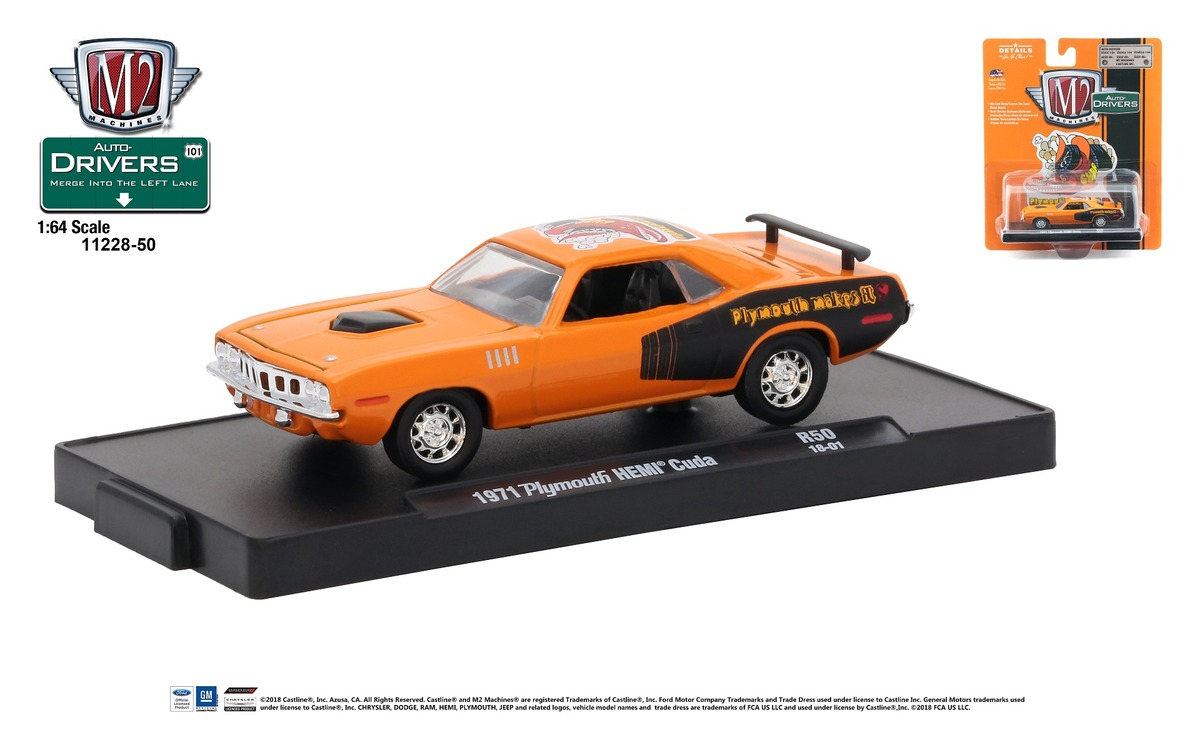 Carded M2 Machines - Drivers Release 50 - 1971 Plymouth HEMI Cuda - Tor-Red - HEMI Orange- Final Image