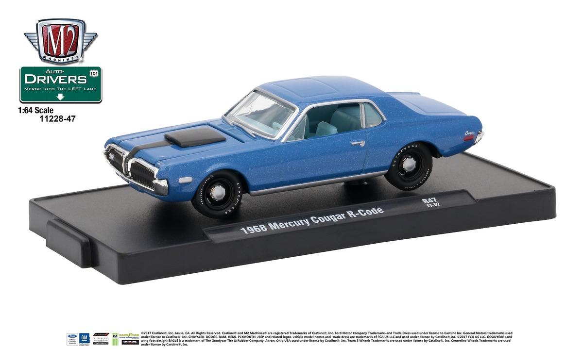 Carded M2 Machines - Drivers Release 47 - 1968 Mercury Cougar R-Code - Nordic Blue Metallic with Semi-Gloss Black Stripe