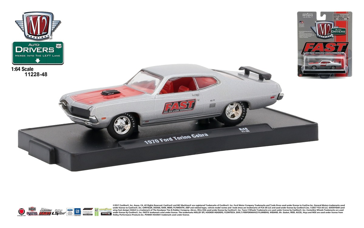 Carded M2 Machines - Drivers Release 48 - 1970 Ford Torino Cobra - FAST - Dark Gray Metallic with Red Stripe