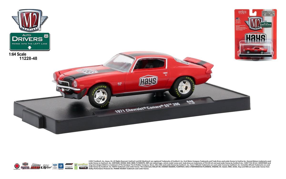Carded M2 Machines - Drivers Release 48 - 1971 Chevrolet Camaro SS 396 - HAYS - Bright Red with Black Stripes
