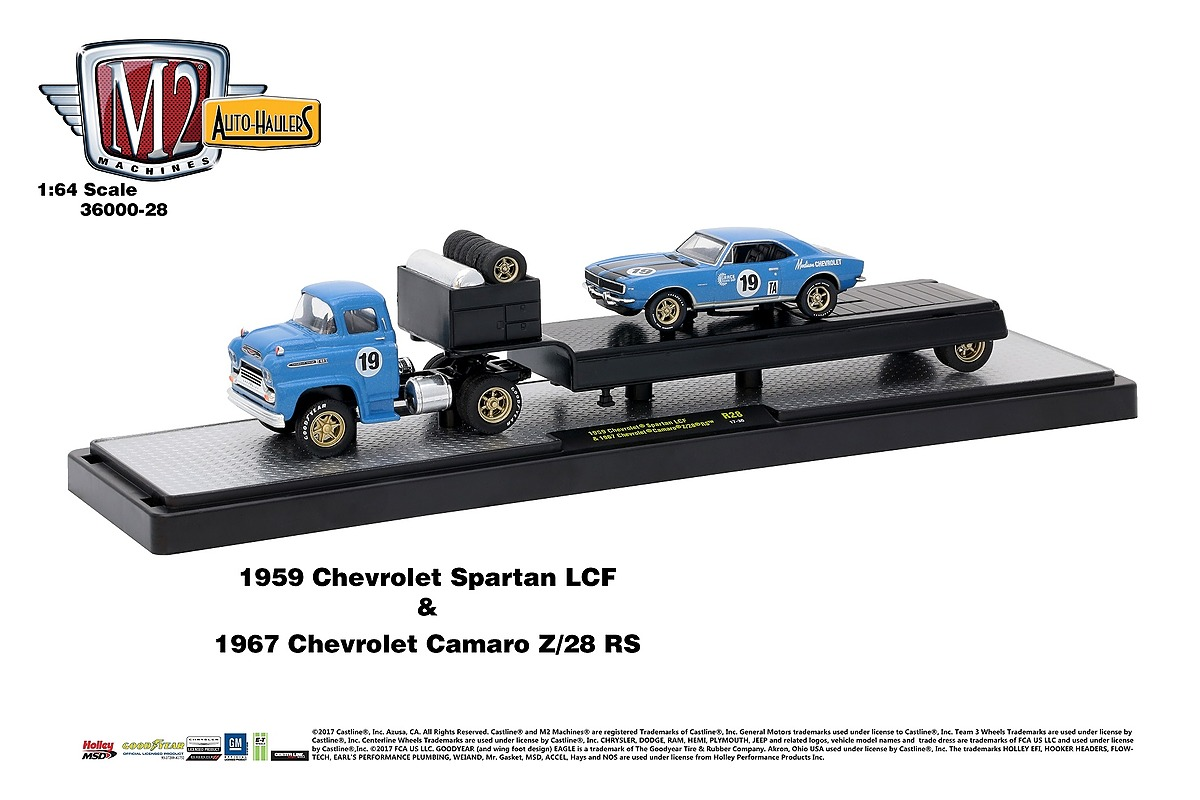 M2 Haulers 1:64 - 1959 Chevrolet Spartan LCF and 1967 Chevrolet Camaro Z-28 RS