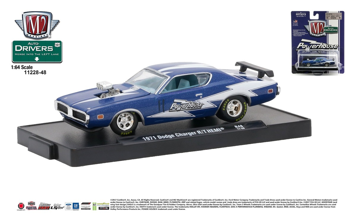 Carded M2 Machines - Drivers Release 48 - 1971 Dodge Charger R-T HEMI - Powerhouse - Dark Blue Metallic with Gloss White Stripe - Final Image