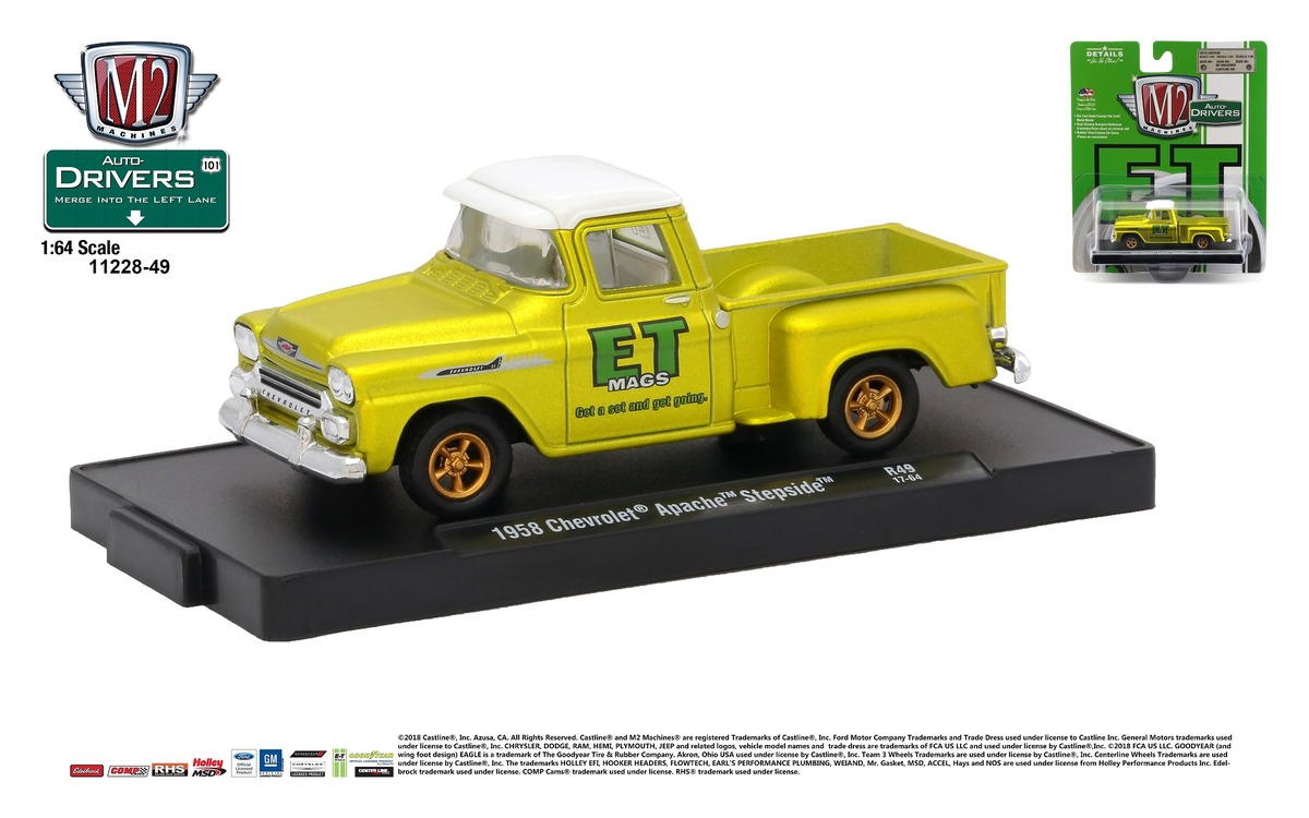 Carded M2 Machines - Drivers Release 49 - 1958 Chevrolet Apache Step Side - Gold Satin with Bright White Top - Final Image
