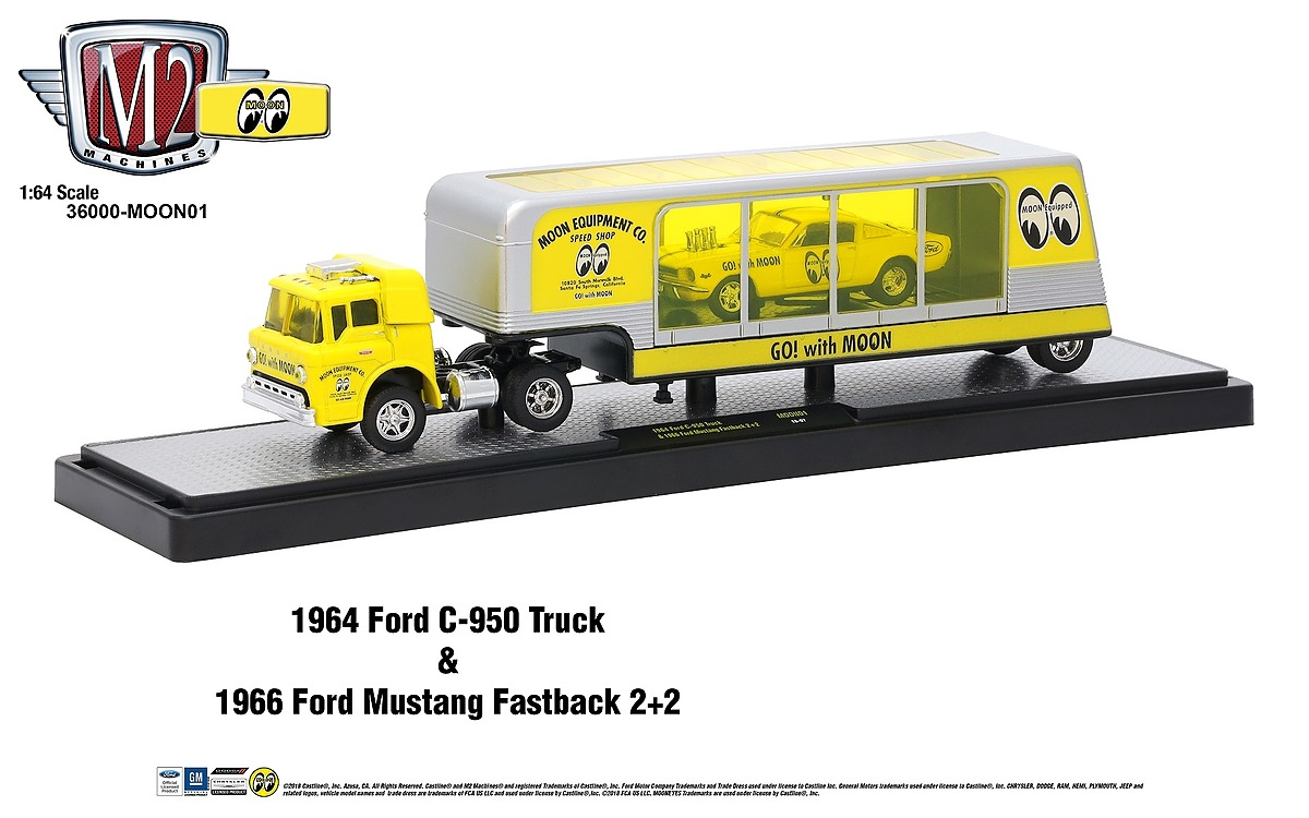 M2 Haulers 1:64 - 1964 Ford C-950 Truck - Bright Yellow - includes 1966 Ford Mustang Fastback 2+2 - Bright Yellow with Black Stripes