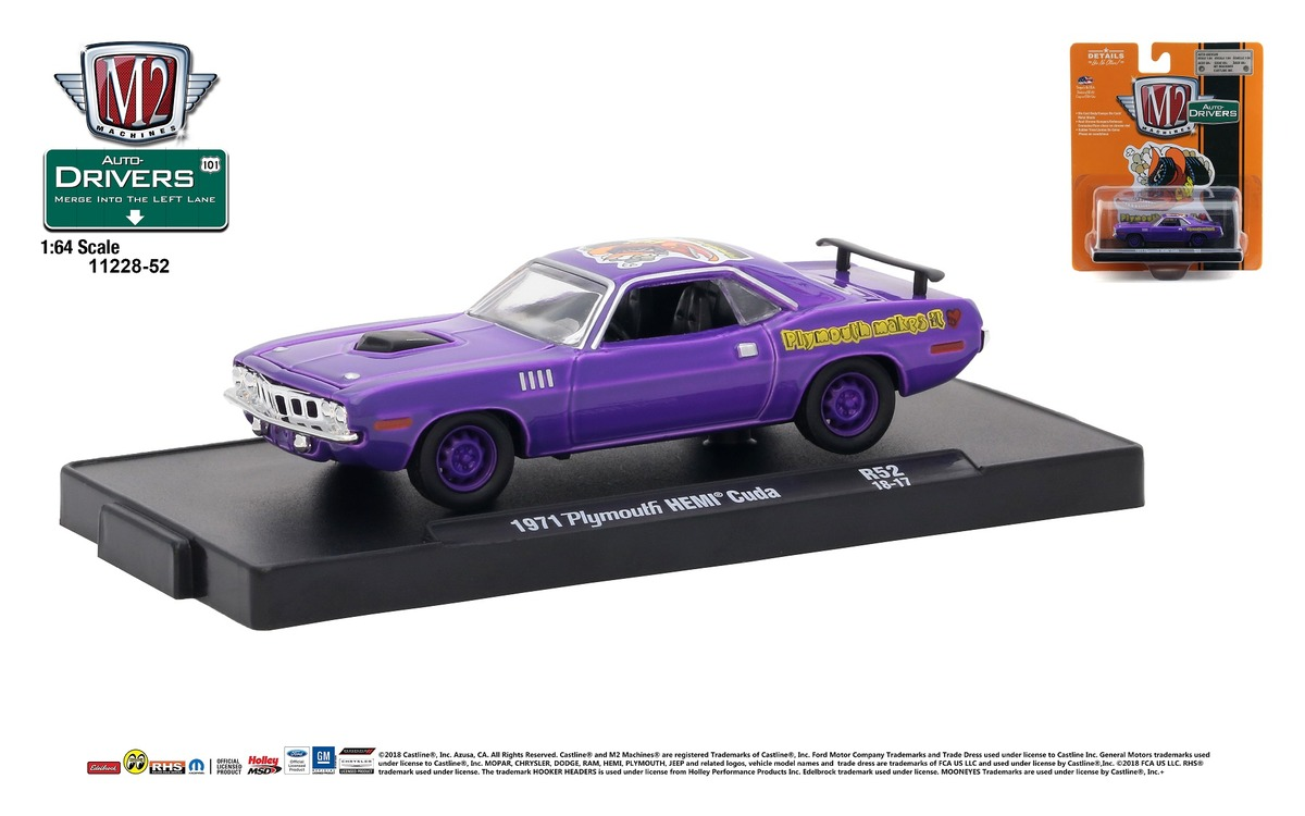 Carded M2 Machines - Drivers Release 52 - 1971 Plymouth HEMI Cuda - In-Violet - Plum Crazy
