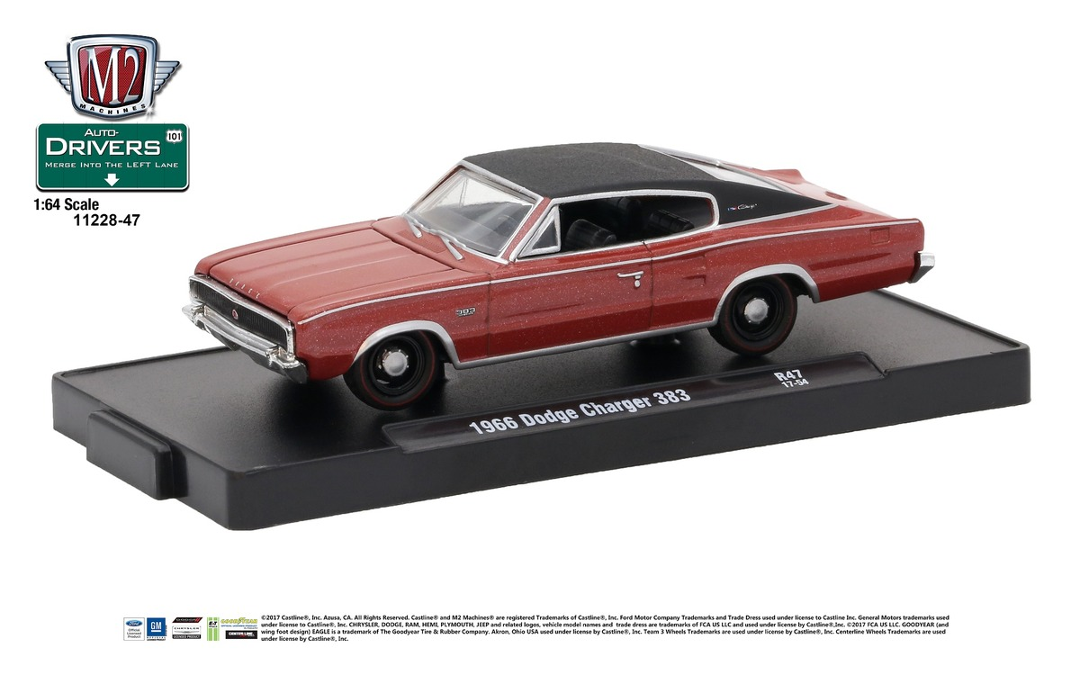 Carded M2 Machines - Drivers Release 47 - 1966 Dodge Charger 383 - Red Metallic with Black Vinyl Top