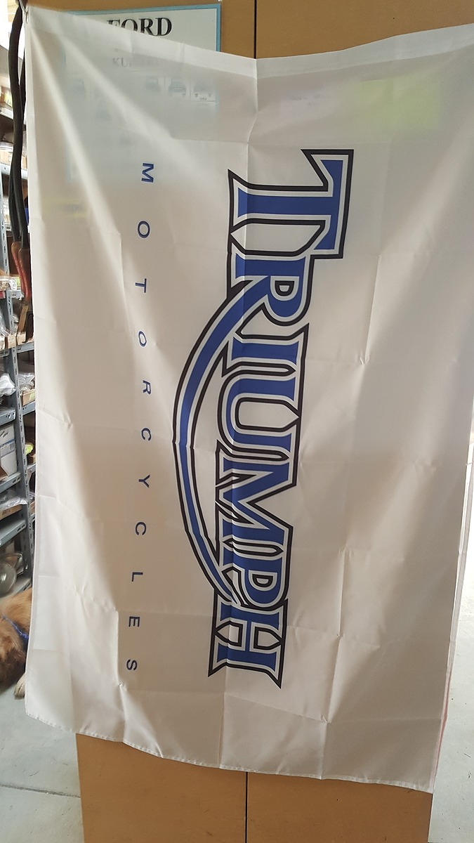 Motorcycle Flags - Triumph White