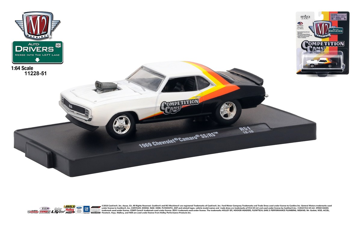 Carded M2 Machines - Drivers Release 51 - 1969 Chevrolet Camaro SS-RS - Competition Cams - White, Yellow, Orange and Black