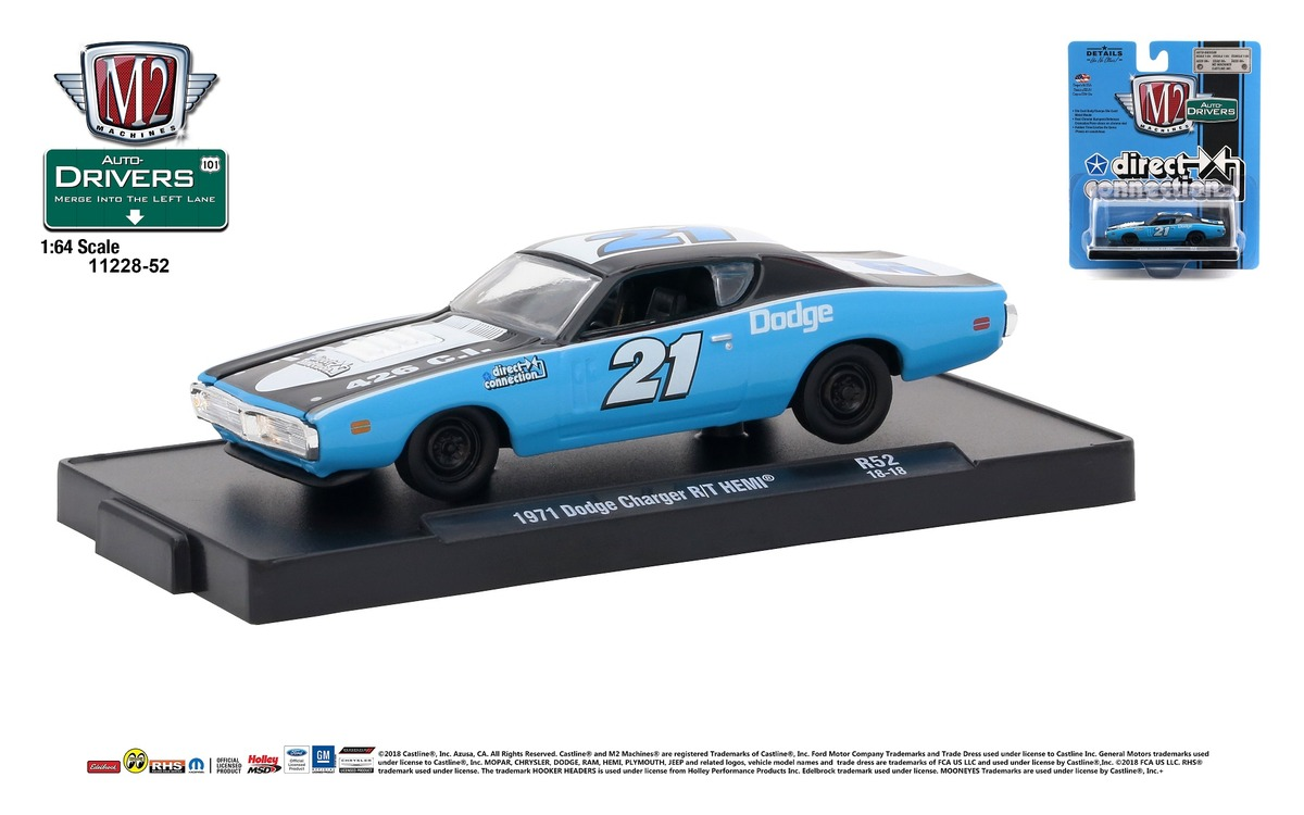 Carded M2 Machines - Drivers Release 52 - 1971 Dodge Charger R-T HEMI - DIRRECT CONNECTION - Black -Blue and White