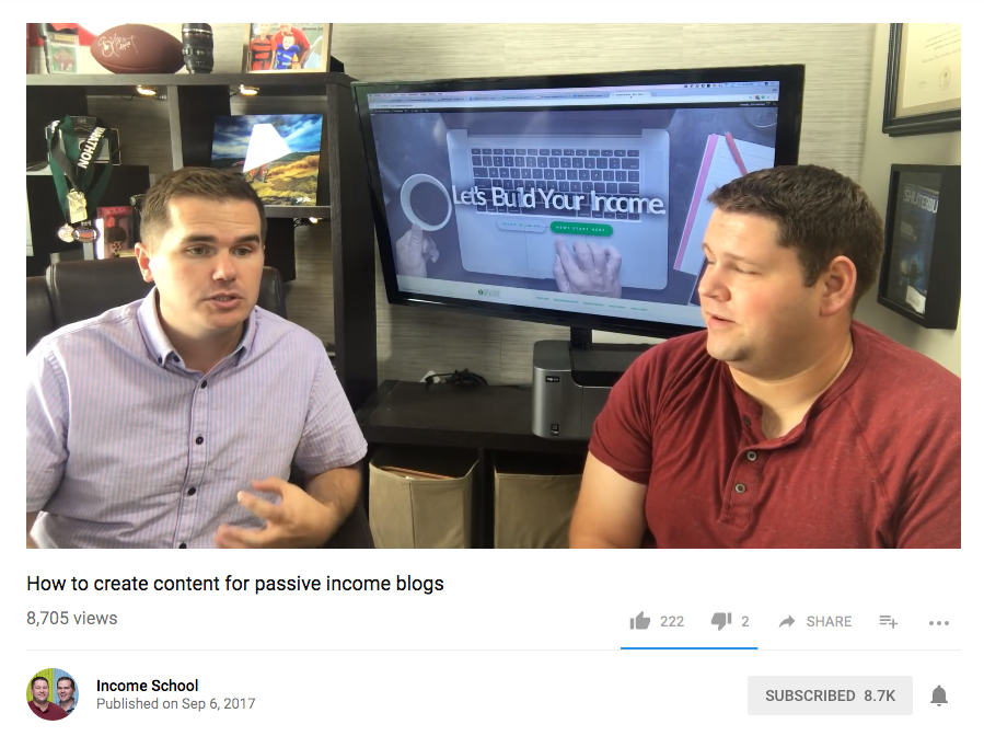 """The """"Income School"""" YouTube channel"""