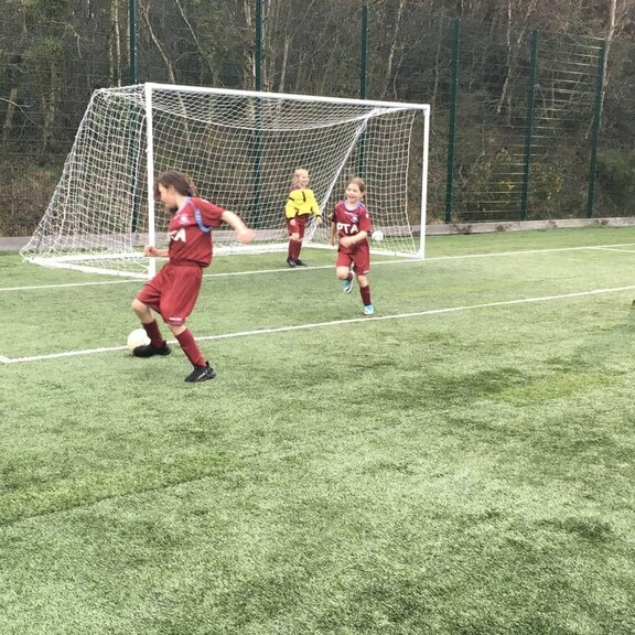 Girls on the training pitch