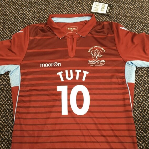 Sandown team football shirt with Tutt 10 on the front