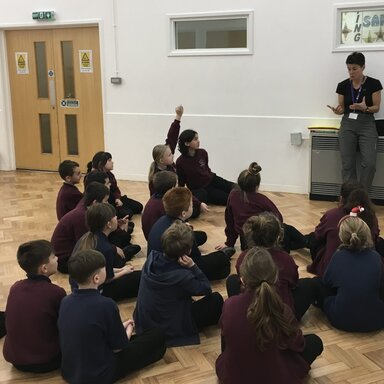 Sports leaders learning from Mrs Antcliffe