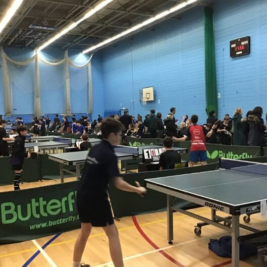 The table tennis arena where matches were played
