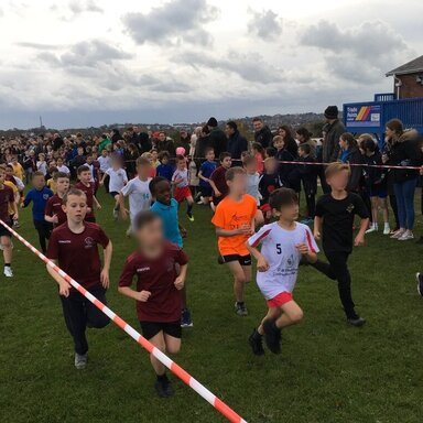 Boys running in the cross country event