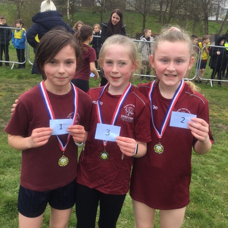 Girls with first, second and third medals