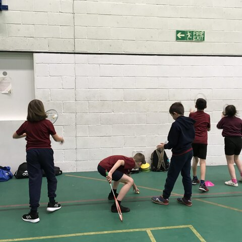 Badminton practice in the sports hall
