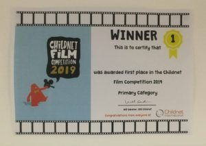 Our Childnet Film competition winners certificate.