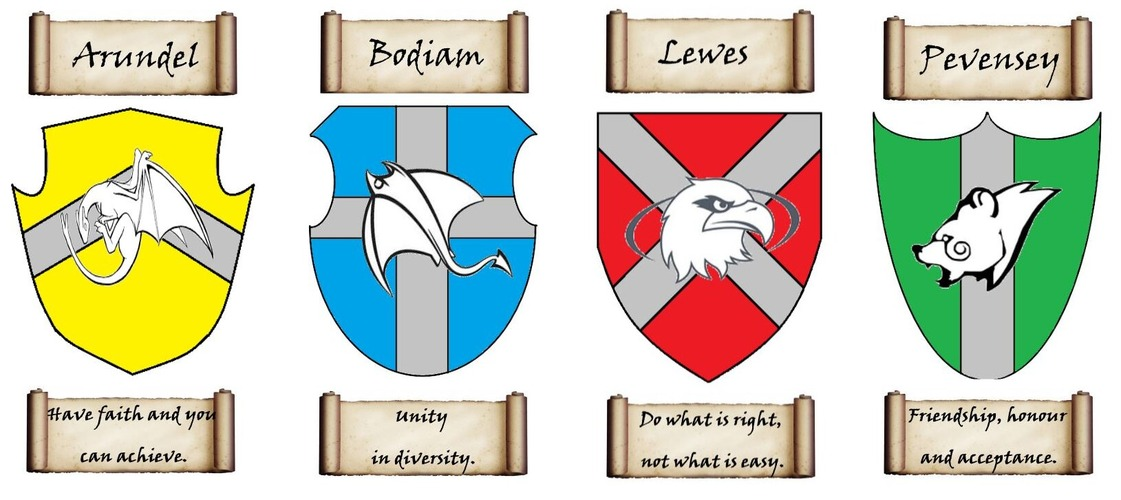 House crests for Arundel, Bodiam, Lewes and Pevensey