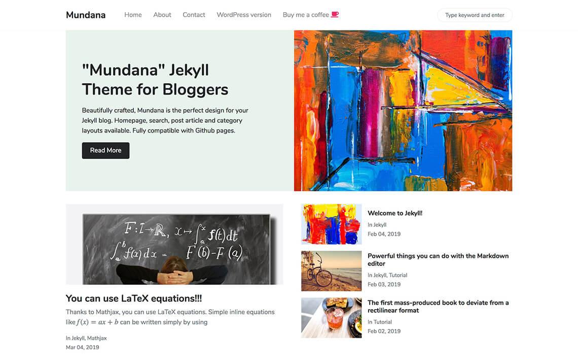 Mundana Jekyll Theme