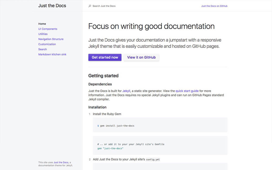 Just The Docs Jekyll Theme
