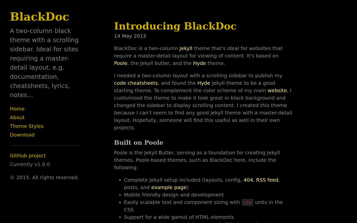 BlackDoc Jekyll Theme